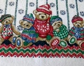 Reserved for CFisher Vintage CHRISTMAS DISH TOWEL Teddy Bears Christmas Sweaters Tea Towel
