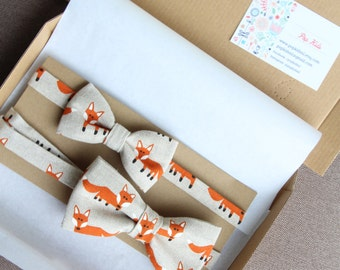Foxes father son bow tie set, foxes bowtie,father son matching outfits