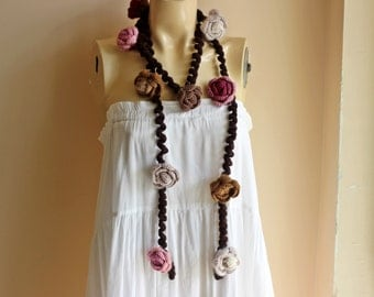 Pastel Crochet Scarf-Rose Scarf-Necklace Lariat Scarf- Pink,Ivory,Taupe,Wine, Brown Scarf