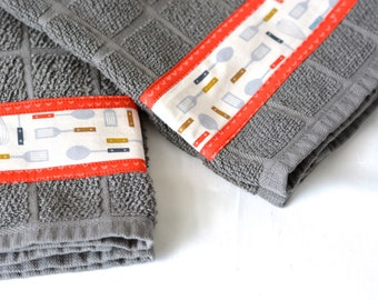 Bridal Shower Gift, Kitchen Towels, 2 Hand Decorated Towels, Kitchen Decoration, Grey Towel Set, Set of Two Cute  Kitchen Towels, Gray Decor