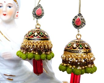 SALE!! Red Teardrop & Pistachio Jhumkas SALE!!
