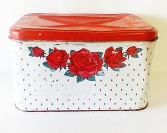 Vintage Red Rose Bread Box