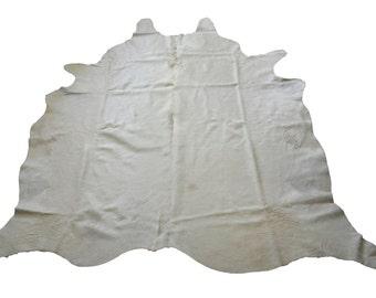 "Large Cowhide Rug - 7'4"" x 5'7"" - Natural Off White - Hair on Hide - Pelt"