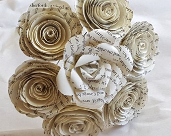 Book page recycled spiral and realistic paper rose bouquet nosegay alternative bridesmaid flower girl wedding centerpiece