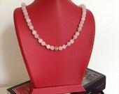 natural stone necklace,matte pink quartz ,gemstone, Christmas gift, Bridesmaid Necklace, Bridesmaid Jewelry, Wedding Jewelry,bridesmaid gift