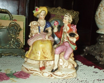 Ornate Colonial Couple Figurine Lady Man Germany Victorian Antique German Porcelain Christmas Gift