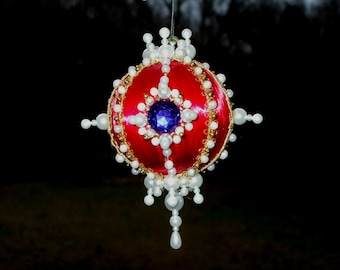 Handmade Christmas Ornament Red Satin Ball Pearls Gold Beads Blue Gems Jewels Ornate Victorian