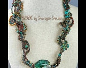 DNA SPIRAL  Freeform peyote necklace Borosilicite glass focal turquoise Earthy