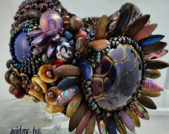 BLUE MOONS, OwLs and TuRtLeS.  Lapis lampwork Focal Bead embroidered cuff  including Czech mate beads