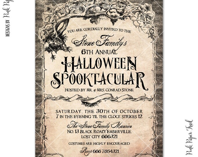Halloween Party Spooktacular Invitation v.1, Haunted Mansion Party Invitation, Vintage Grungy Halloween, All Hallows Eve Invitation