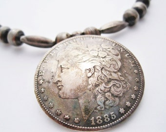 Navajo Necklace, Morgan Dollar, Silver Necklace, Handmade Beads, Bench Bead, Native American Jewelry, Silver Dollar, 1885