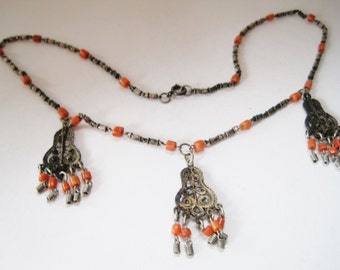 Ethnic Choker, Silver and Coral, Delicate Necklace, Filigree Jewelry, Ethnic Jewelry