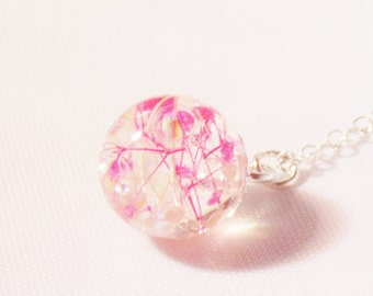Cherry Blossom Necklace, Dewdrop, Resin Dewdrop, Dainty Necklace, Wishes on the Wind