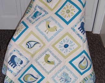 Karma Quilt, Lap Quilt, Baby Quilt, Elephants and Birds, Blue Green Quilt