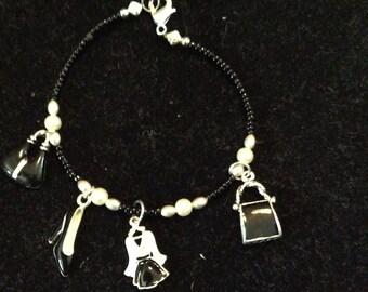 Black and White Fashion Charm Bracelet