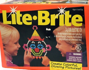 Vintage Lite Brite Toy MIlton Bradley with Refill Sheets and Pegs 1990s