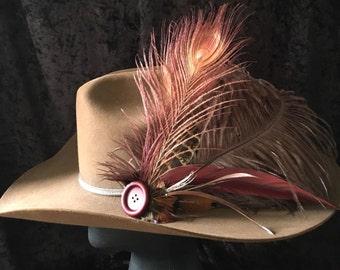 "Feather Hat Clip Barrette Hair Flair Head Piece Men Or Women ""Babe It Ain't No Lie"""