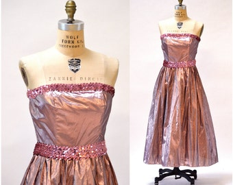 Metallic 80s Prom Dress Pink Size Small Medium// Vintage 80s does 50s Party Dress Metallic Pink Sequin Strapless