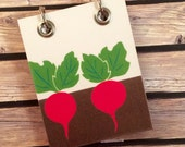Recycled Notebook - Small Note Book - Refillable Notepad - Upcycled Children's Book - Pair of Radishes