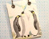 Recycled  Notebook - Large Refillable Notepad - Upcycled Children's Book - Penguins