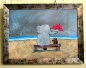 Original Nursery Art, Elephant and Dog Painting, Best Friends Artwork, Childrens Room Decor, Kids Wall Art, Beach Painting, Stormy Skies