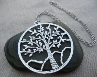 Big Silver Tree Pendant - Silver Tree Necklace - Tree of Life Jewelry - Silver Statement Necklace
