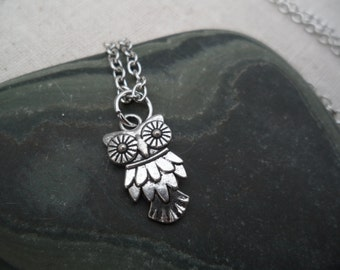 Silver Owl Pendant, Silver Owl Necklace, Silver Owl Jewelry, Simple Everyday Silver Necklace