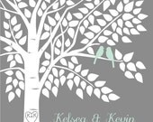 Mint Wedding Decor Wedding Guest Book Tree Personalized Wedding Guestbook Alternative - 16x20 - For up to 220 Signatures