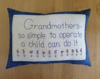Grandmother Pillow - Hand Embroidered