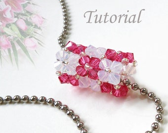 Pendant Tutorial - Beaded Lilies n Roses Tube Pendant Pattern Beads Tutorial Tube Beading Pattern Beaded Bicone Pendant Making Easy