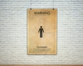 GEEKLOVE SALE Cloning  // Vintage Science Experiment Warning Poster // Finge Inspired Wall Art for the Budding Mad Scientist