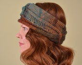 KNIT EARWARMER- Peacock and Rust- acrylic and wool