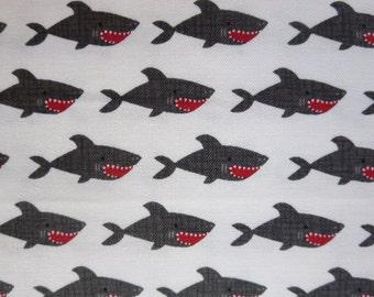 """Riley Blake - C5031-WHITE Blackbeard Shark White -  """"Blackbeard's Pirates"""""""