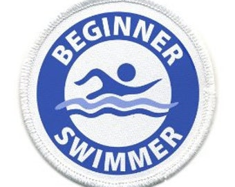 BEGINNER SWIMMER Pool Safety Alert Sew-on White Rim Patch (Choose Size and Color)