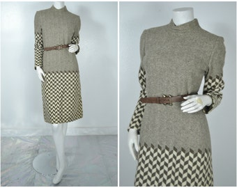 60s mock neck checkered graphic pattern brown wiggle dress