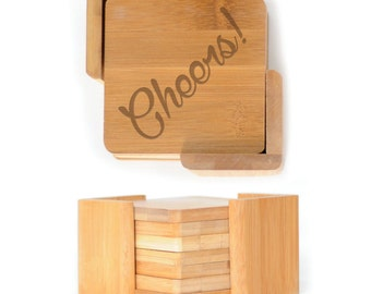 Wooden Square Coasters - Set of 6 with holder - 2594 Cheers