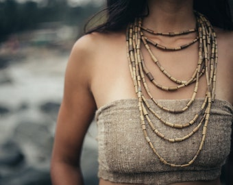 Tribal Bamboo Necklace- 7 strands