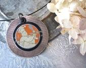 Tin and Brass Pendant-Baker Pendant-Foodie Jewelry- Vintage Tin-Mixed Metal Pendant-Tin Anniversary-Ready to Ship