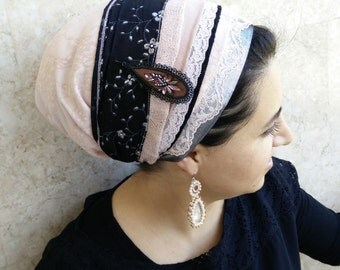 tichel, apron, head covering, headscarf, aprons, oshrat, headband ,headcovering, hair snood, mitpachat