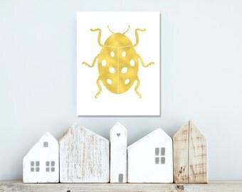 Gold foil wall art / Ladybug art / insect art print  / gold foil print