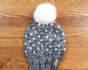 PRE-FALL SALE Slouchy Hat Beanie Knit Fair Isle Pom Pom Hat Faux Fur Chunky Knitted Winter Cap // The Caribou