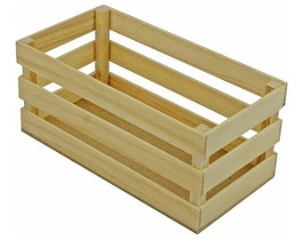 NEW SIZE 6 Rectangular Mini Wooden Crates 4 x 7 inches