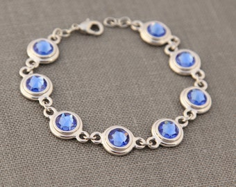 Sapphire Jewelry, Birth Month Bracelet, September Sapphire Jewelry, Birthday Gift, Push Present, Sapphire Blue Bracelet