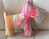 Stuffed Scotty Dog - stuffed toy - pink, blue, orange stripes