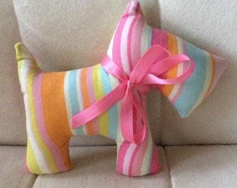 Stuffed Scottie Dog - stuffed toy - pink, blue, orange stripes
