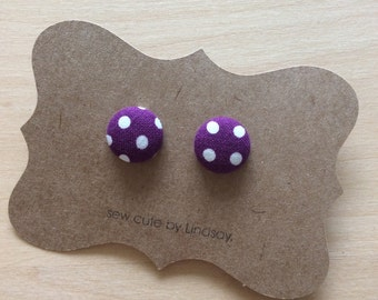 Covered Button Earrings - Cotton and Steel - purple polka dots