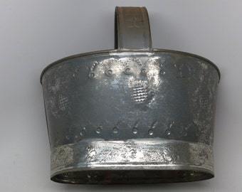 Vintage Mexican Punched Tin Basket