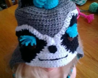 Raccoon crocheted beanies for adults and kids