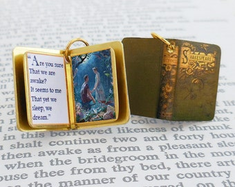 A Midsummer Night's Dream by William Shakespeare - Miniature Book Charm Pendant - for charm bracelet or necklace. Custom available!