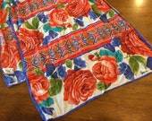 Vintage Red Roses and Purple Oblong Sheer Vera Women's Scarf- ponytail scarf, Vera red roses scarf, floral scarf, vintage scarf, Vera scarf